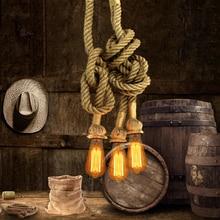 Creative Pendant Lights Edison Bulb Vintage Rope Pendant Lamp Vintage Lamp American Style Industrial Lighting For Living Room