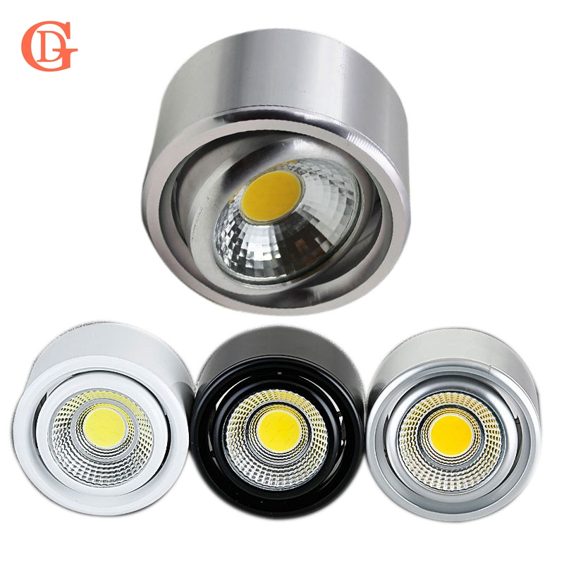 GD 5W 7W COB LED Downlight Dimmable Surface Mounted Ceiling Spot Light AC110V-220V Adjustable Ceiling  Lamp W/Driver Silver/B/W