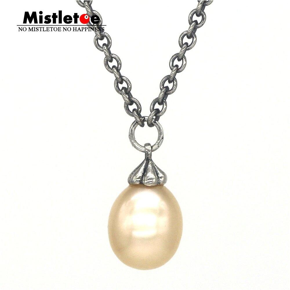 Jemioła 925 Sterling Silver Fantasy naszyjnik z różanym (2) perła biżuteria w Naszyjniki łańcuszkowe od Biżuteria i akcesoria na  Grupa 1