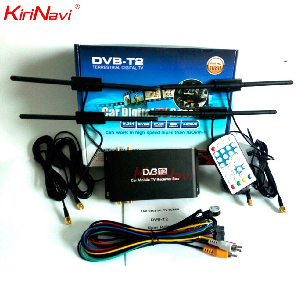 Pour l'allemagne double antenne voiture HD numérique TV Turner récepteur Auto DVB-T2 quatre puce Tuner haute vitesse