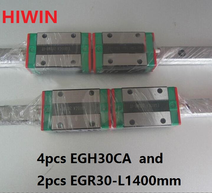 2pcs 100% original HIWIN linear guide EGR30 -L 1400mm + 4pcs EGH30CA linear block for CNC router 2pcs 100% original hiwin linear guide rail egr30 l 1800mm 4pcs egh30ca linear block cnc router
