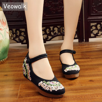 4433140b6c96 Veowalk New Handmade Chinese Women Canvas Flat Platforms old Peking Flower  Embroidered Cotton Comfortable Shoes Zapatos Mujer - foxadd review