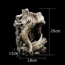 LED Tree Trunk Waterfall Fountain For Gecko Lizard Tortoise Snake Chameleon Reptile Tree Frog Vivarium Terrarium Decoration