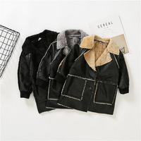Winter boys thick coats kids turn down collar long sleeve PU jackets baby fashion black all match clothes children 2-7 years old