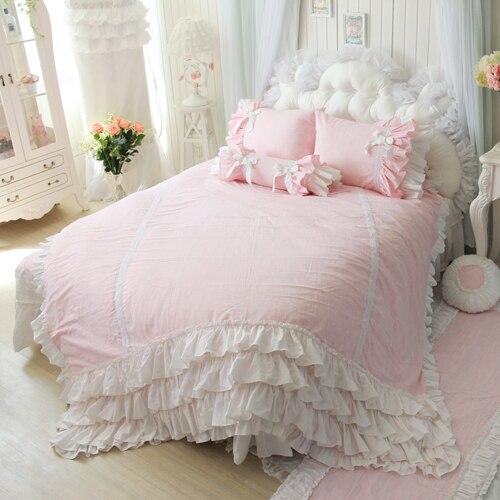 Flax Linen Bedding Set,Pink Blue Bedding Sets,Princess ...