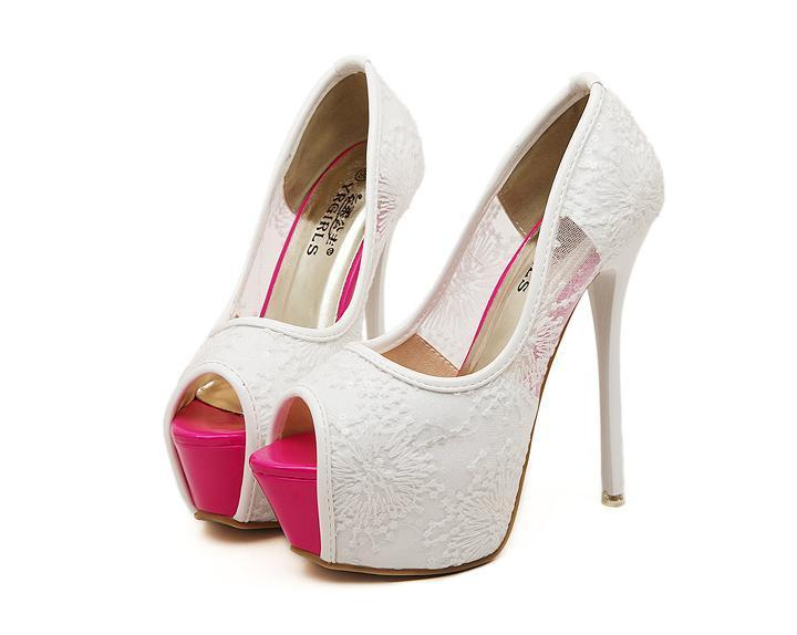 Aliexpress.com : Buy Pink Stiletto Heels Peep Toe Lace Women Shoes ...