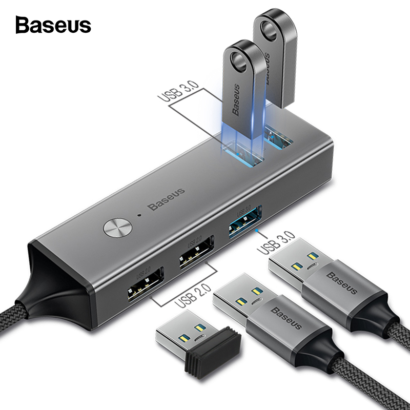 Baseus 5 Ports USB C HUB to USB 3.0 OTG USB HUB Splitter High Speed 5Gbps For Macbook Computer Laptop Type C HUB USB 2.0 Adapter стоимость