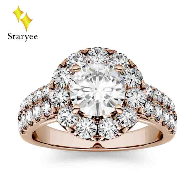 все цены на Lab Diamond Halo Rings 14k Rose Gold Women Lover Couple Anniversary Romantic Propose Engaged Wedding Moissanite Accent Side Ring онлайн
