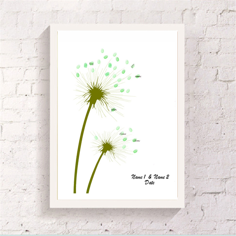 Adorable finger graffiti dandelion design customized guest for Dandelion flowers and gifts