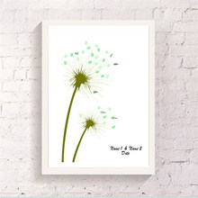 Adorable Finger Graffiti Dandelion Design Customized Guest Attendance Signature Book Chic Canvas Art Poster for Wedding Ornament(China)