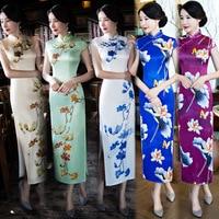 2018 Short Sleeve Silk Cheongsam Slim Plus Size Long Design Female Flower Qipao Dress Long Traditional