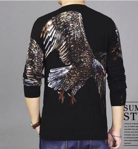 Image 2 - BONJEAN ฤดูใบไม้ร่วงแฟชั่นผู้ชายเสื้อกันหนาวแขนยาวรอบคอใหญ่ Eagle พิมพ์ผ้าฝ้ายถักบางเสื้อ
