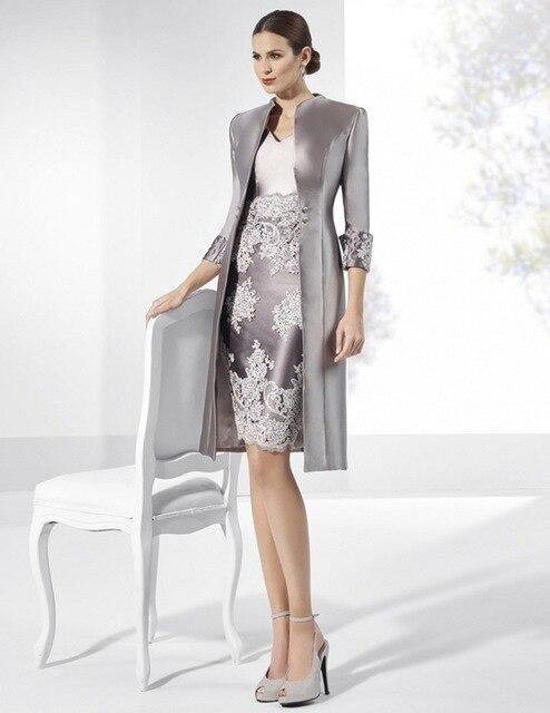 Alta Calidad de plata madre de los vestidos de novia 2017 de La Vendimia larga chaqueta vestido de encaje apliques longitud de la rodilla vestido de noche formal
