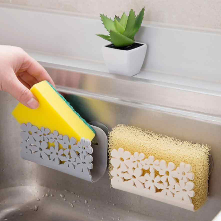 Kitchen Sink Suction Sponges Holder Scrubbers Soap Storage Rack Suction Cup Sponge Holder Kitchen Bathroom Drying Rack 2018