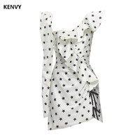 KENVY Brand Fashion Women's High end Luxury Spring Summer Star Reffles Frill Slim Dress