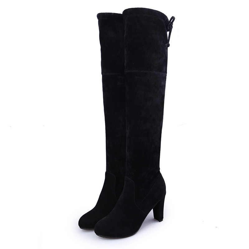 Kadın botları sıcak over-the-diz çizmeler kadın kış çizmeler kadın ayakkabıları kış diz yüksek çizmeler uyluk yüksek topuklu ayakkabı Botas Mujer