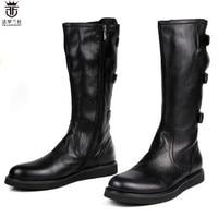 2018 FR.LANCELOT Fashion Hot martin long boots Belts Buckles Side Zipper men boots cow leather tide shoes luxury brand