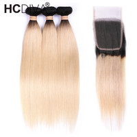 Ombre Blonde Straight Hair Bundles With Closure 1B/613 Black and Blonde Hair Dark Roots 10 24 Inch Brazilian Remy Hair HCDIVA