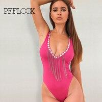 pfflook 2017 New One Piece Swimsuit Women Summer Bodysuit Sexy Brazilian Strap Swimwear V Neck Rhinestones SwimSuit Bathing Suit