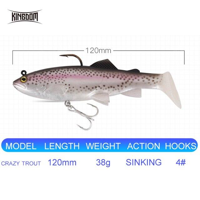 Kingdom 2019 New Crazy Trout Soft Baits 1pc 120mm 38g Lead Head PVC Soft Lure Swimbaits Good Sensitive T-Tail Fishing Lures 2