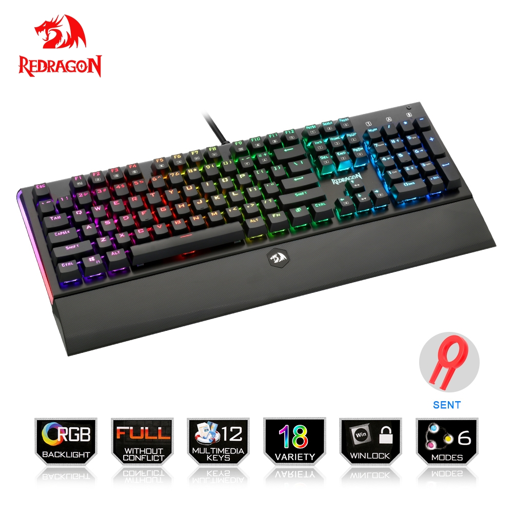 Redragon USB mechanical gaming keyboard ergonomic RGB color LED backlit keys Full key anti-ghosting 104 wired PC Computer gamer mechanical gaming keyboard optical connection switch rgb backlit anti ghosting waterproof usb wired pro gamer russian stickers