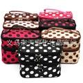 2016 women's wave double dot cosmetic bag zipper storage bag Underwear Lingerie Bra handbag Lady Bolsas