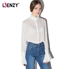 LIENZY 2016 Summer Sexy Women White Shirts Long Lantern Sleeve Mesh Loose 3D Lace Polo Neck