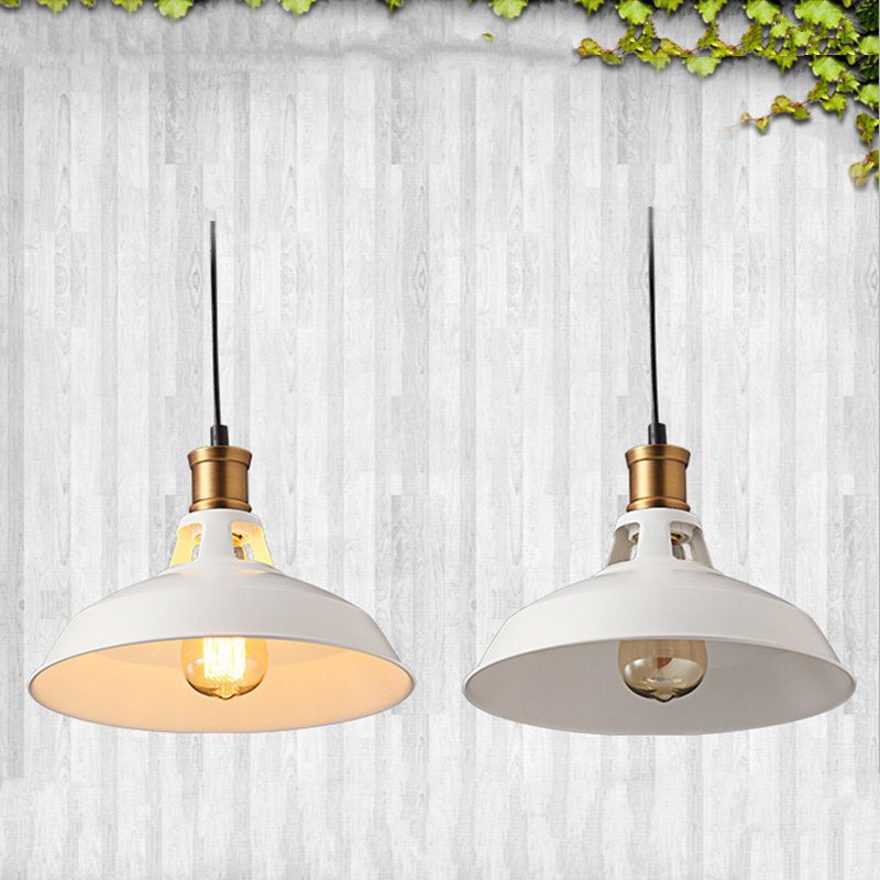 Vintage Industrial style Art LED Pendant light black white Lampshade Edison light bulb E27 pendant lamp Retro Hanging Light 5pcs e27 led bulb 2w 4w 6w vintage cold white warm white edison lamp g45 led filament decorative bulb ac 220v 240v