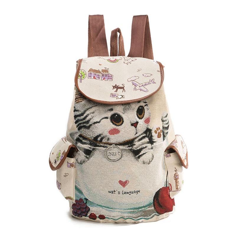 AFBC Canvas Backpack Cartoon Cat Pattern School Bag Pockets Vintage Bag Travel Drawstring Backpack 1#