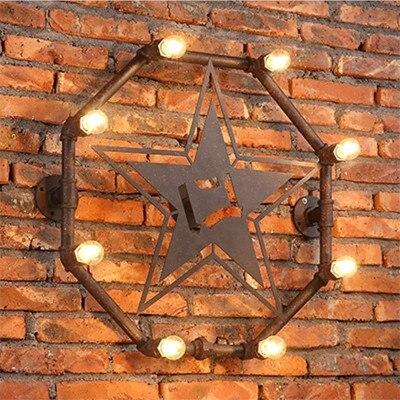 Винтажные Ретро промышленные кованые железные окрашенные ржавчины водопровод восьмиугольник в форме звезды настенный светильник с лампоч