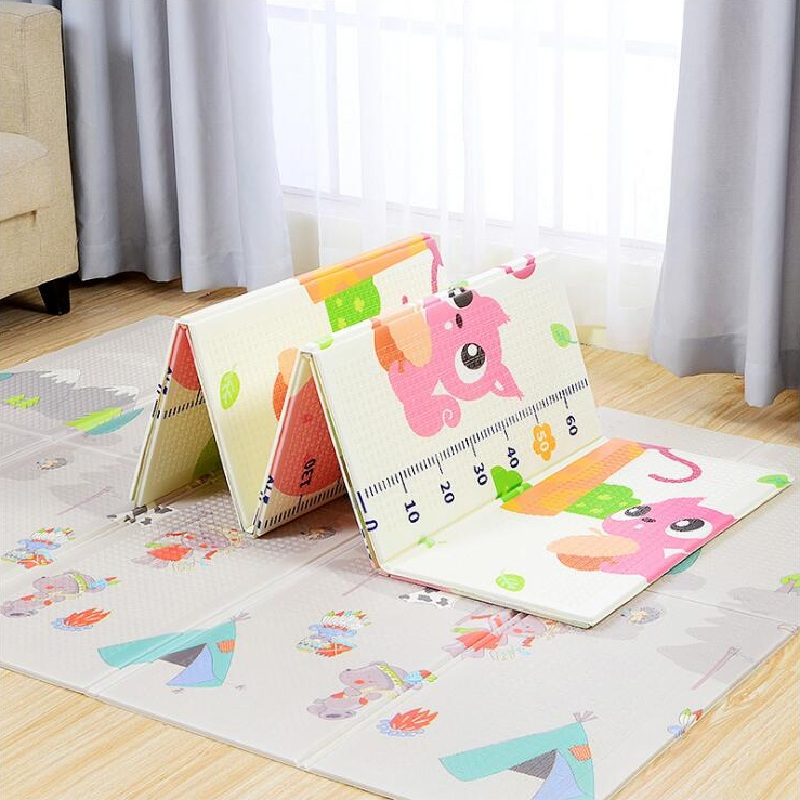 Cute Cartoon Folding Play Mats Baby Play Game Pad Infants Carpet Develop Crawling Mat Pack and Play Mattress Kids Room Decor baby crawling pad cute cartoon animal fox elephant sleeping mat baby kids soft plush mattress cushion pad play mat