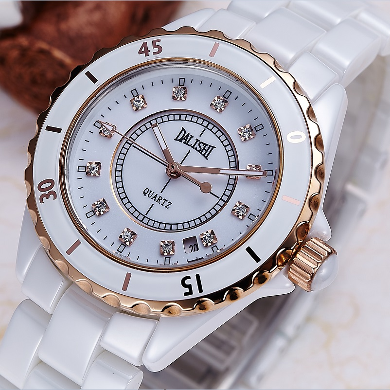 DALISHI Brand Women Quartz Pearl Ceramic Watch Ladies Dress Watches Fashion Girl Hour Women Charm Wristwatch Relogio Feminino