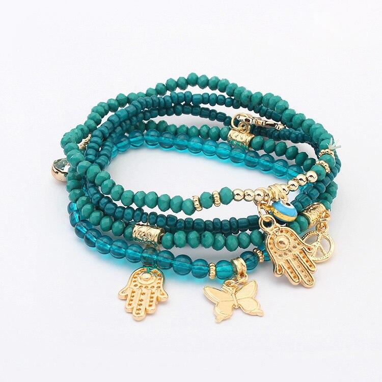 Fashion Women Ehted Butterfly Fatima Palm Eye Rahu märk helmed Käevõru bijoux pulseras Mitmekihilised ketid BOHO käevõrud