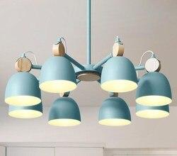 Nordycki kreatywny osobowość żelaza żyrandol artystyczny salon sypialnia post-nowoczesny prosty żyrandol LED kolor darmowa wysyłka