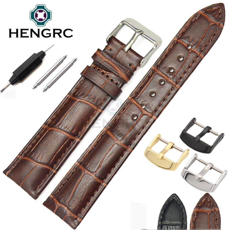 18 19 20 21 22 24mm Durable Genuine Leather Watch Band Strap Women Men High Quality Soft Watchbands Metal Buckle Accessories durable genuine leather watch strap for men
