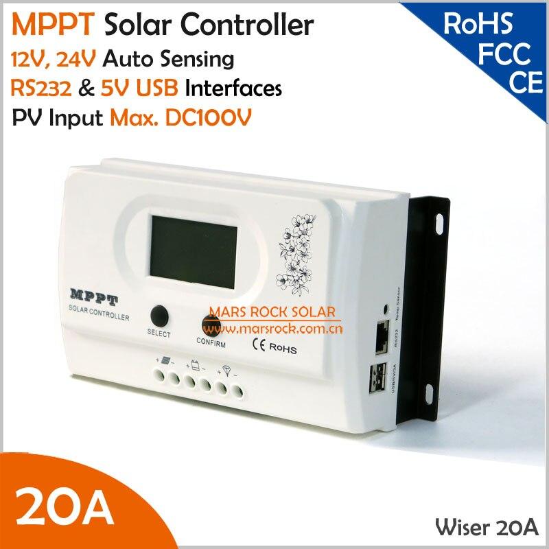Contrôleur de charge solaire Wiser 20A MPPT 12 V/24 V reconnaissance automatique Max. entrée PV DC100V avec interfaces USB RS232 et 5 V
