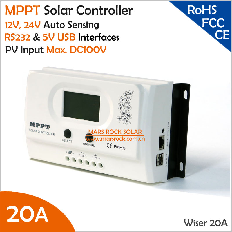 Wiser 20A MPPT solar charge controller 12V/24V auto recognition Max. DC100V PV input with RS232 and 5V USB interfaces