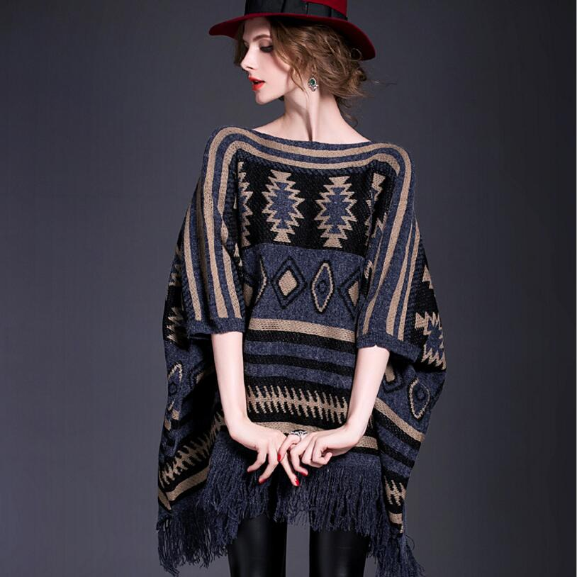 Top Quality Loose Plus Size Women Poncho Capes Autumn Winter Tassel Fashion Long Cloak Knitted Sweater Pullover Pull Femme MY527