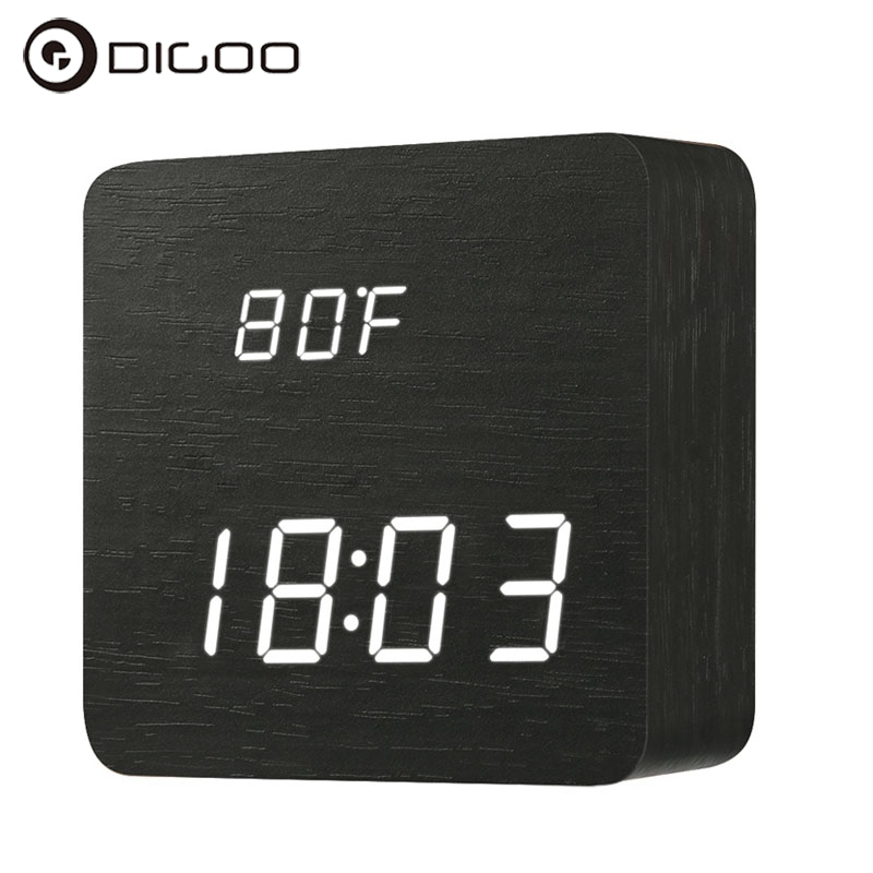 Digoo DG-AC1 Voice Control Wooden LED Digital Alarm Clock Multifunctional 2 Mode Display Time Thermometer Desk Clock Smart Home dg home стул james