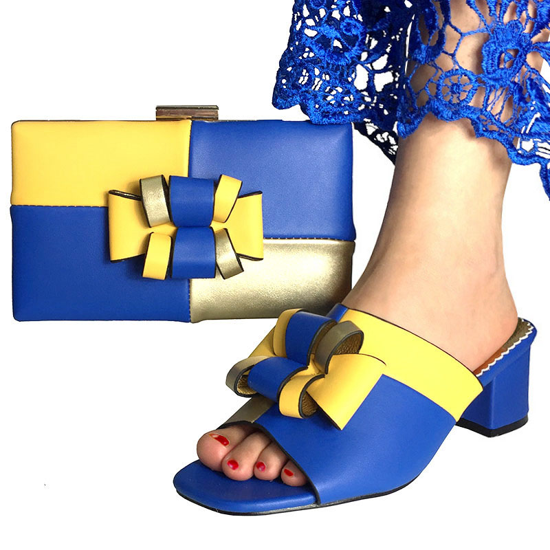 2019 femmes africaines chaussures et sac ensemble avec des pompes chaussures italiennes avec sac assorti pour soirée couleur bleu Royal et jaune-in Escarpins femme from Chaussures    1