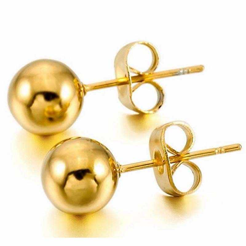3 pair/lot Gold Color Surgical Ball Earring Stainless Steel Ball Studs Earrings For Women With Ball Diameter 8mm Earring Pin