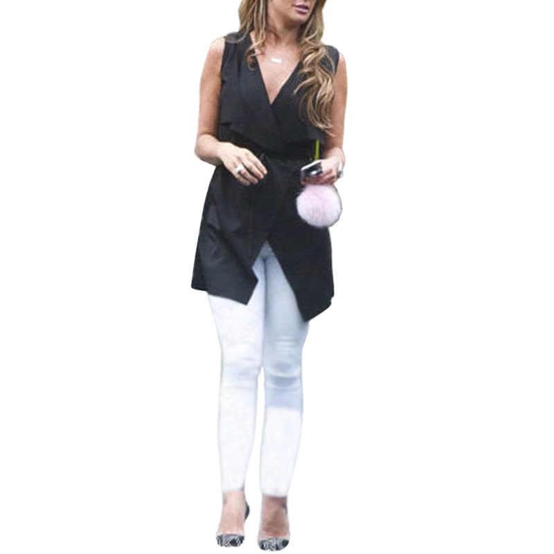새로운 도착한 여성 코트 민소매 폭포 케이프 롱 가디건 블랙 그레이 자켓 코트 방풍 바지 붕대 숙녀 조끼