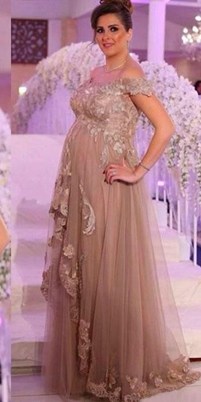 2017 Plus Size Maternity Evening Dresses Off Shoulder Empire ...