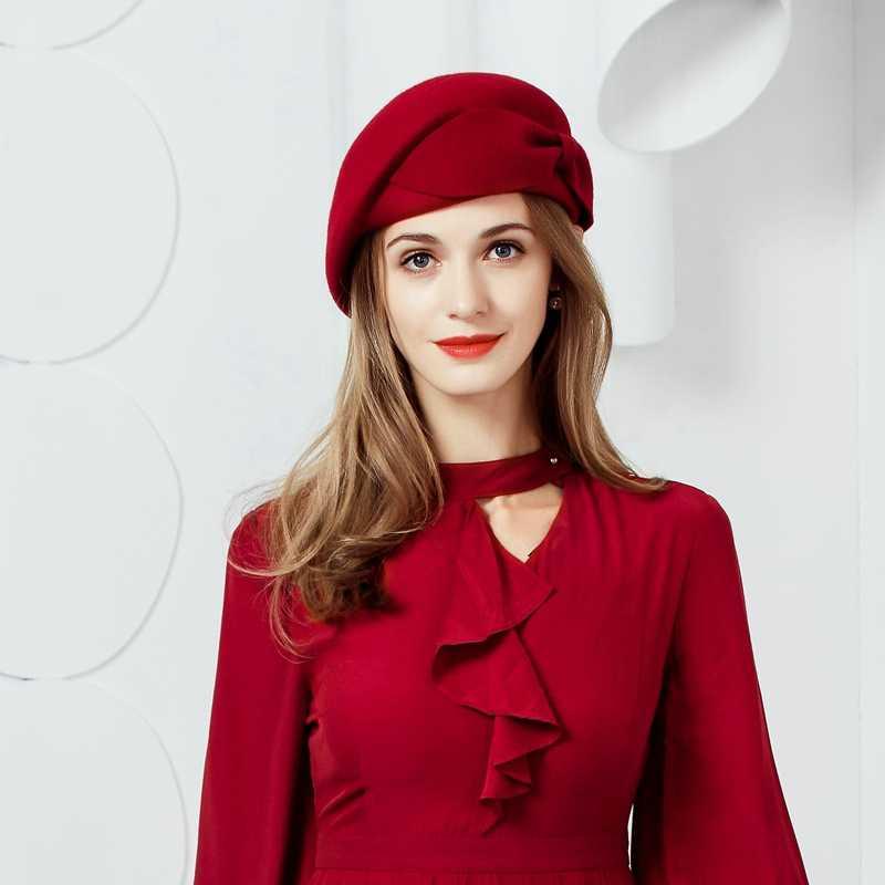 Женский 100% шерсть цветок Fedora Hat Англия Стиль Винтаж зима Для женщин Войлок Французский Берет Шапки Bone Feminino