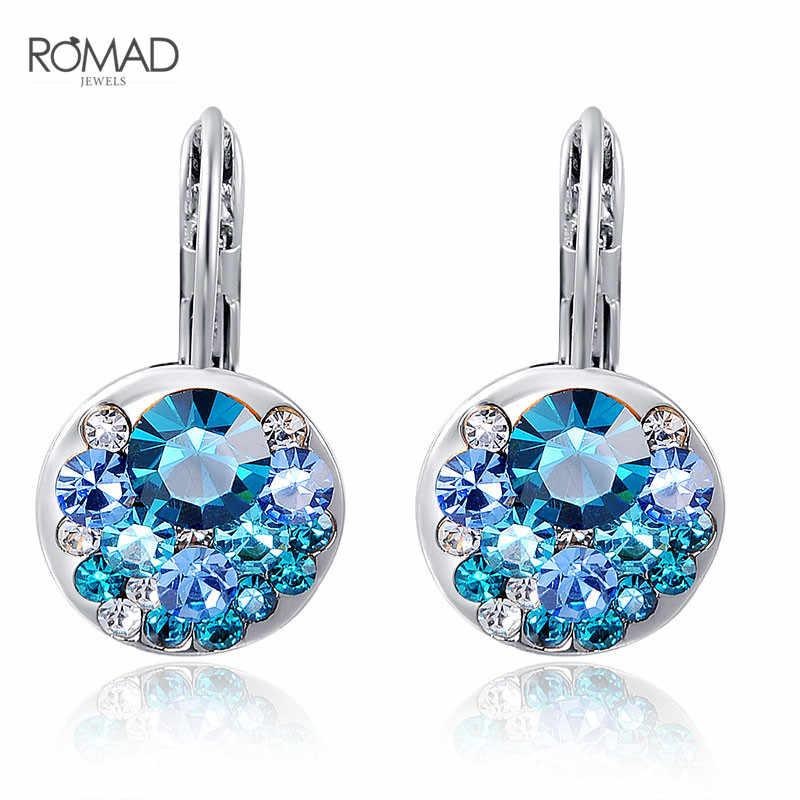 GS kolczyki kobiet biżuteria AAA cyrkon kolczyki prezenty dla kobiet niebieski kryształ party akcesoria posrebrzane moda biżuteria G6