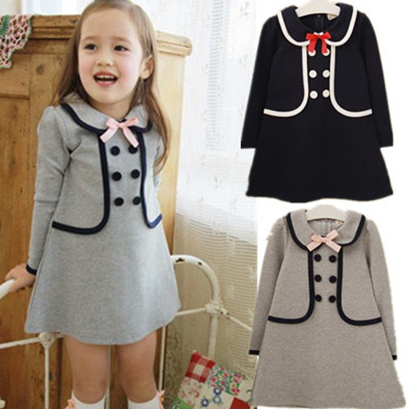 Retail 2018 New summer children girls dress,cotton long design t-shirt double-breasted buttons sub school navy 3-7Y navy tiered design mini dress
