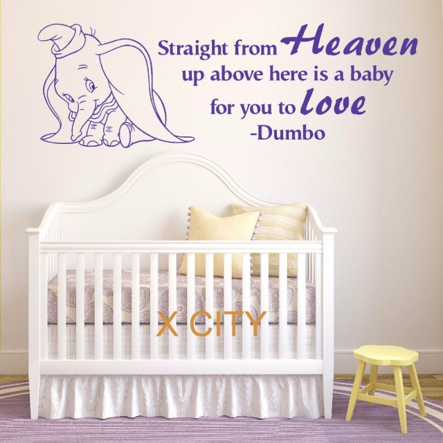 Dumbo the elephant straight from heaven vinyl wall art baby room sticker nursery decal door window