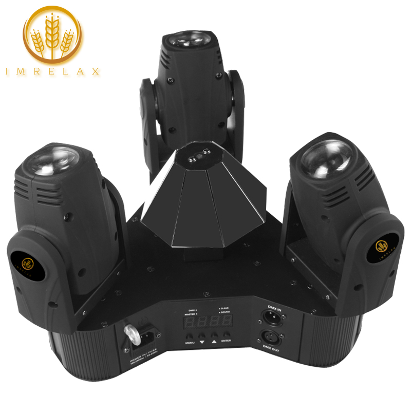 IMRELAX New 3 Heads Moving Head Light Individual Control 3 10W RGBW 4in1 LEDs Triangle DMX