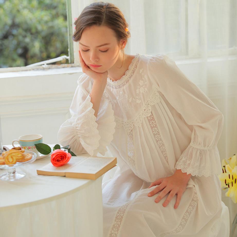 New Arrival Nightgowns Sleepshirts Lace Sleepwear Long Cotton ...