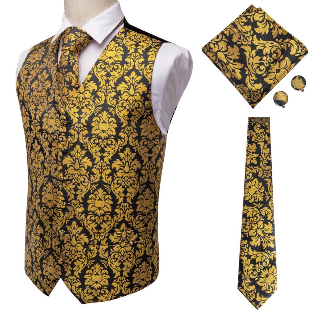 Hi-Tie Men Suit Vest Silk Waistcoat Slim Paisley Tie Cufflinks Handkerchief Formal  Vest Gold/Red/Black For Tuxedo Business
